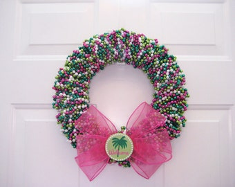 Preppy Pink and Green Palm Tree Beaded Welcome Wreath
