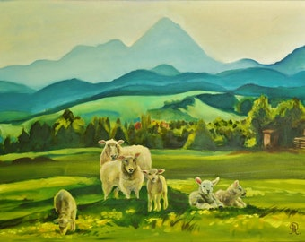 Lamb art , sheep painting , fine art landscape , mountain art , mountain fine art , mountain home decor , sheep canvas , ready to hang