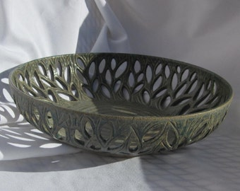 Fresh Fruit Bowl with Hand Carved Leaves in Green