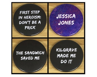 Jessica Jones metal pin back badges & magnets