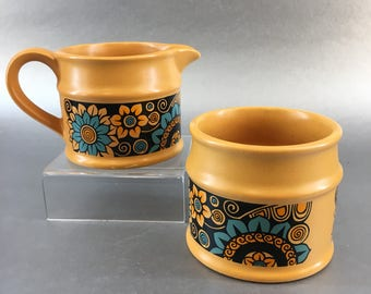 Vintage Sadler Mid Century Orange Pottery Cream Pitcher and Sugar Bowl