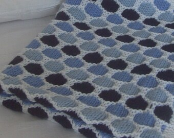 Hand-knitted hand-made wool Honeycomb baby blanket / Favourite children Honeycomb quilt  / Wool Throw blanket