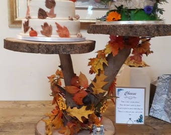 Rustic Wedding Cake Stand Made From Natural Wood and Log Slices: 1, 2 and 3 platform available