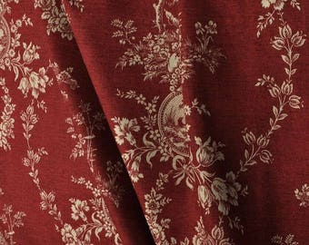Round tableskirt with gathers, Waverly country house toile red ivory, table skirt, tablecloth