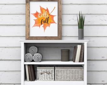 Fall Print, Hello Fall Printable, Calligraphy Wall Art, Fall Decor, Autumn Art, Fall Leaf Watercolor, Thanksgiving Print