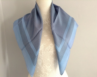 Vintage Silk Blue  Square Scarf..Rolled Hand Stitched