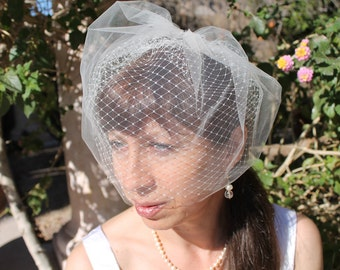 "Bridal  Blusher Birdcage Veil 9"" Double Layer Illusion Tulle and Russian Net for your Wedding"