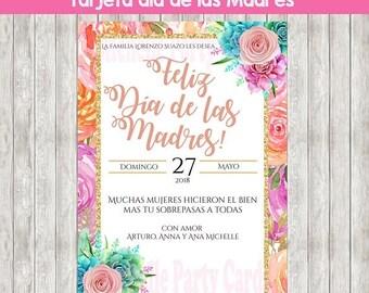 50%Off Tarjeta Día de las Madres, Tarjeta en español,  invitación, Flores, Rosas, Tarjeta para fiestas, Día de las Madres, Feliz Día de las