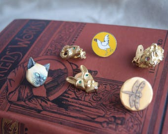 Vintage Animal Jewelry Findings, Vintage Single Earring Lot, Enamel metal Animal Pieces for Repurpose Jewelry Making Supply