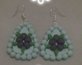 Floral polymer clay dangle earrings