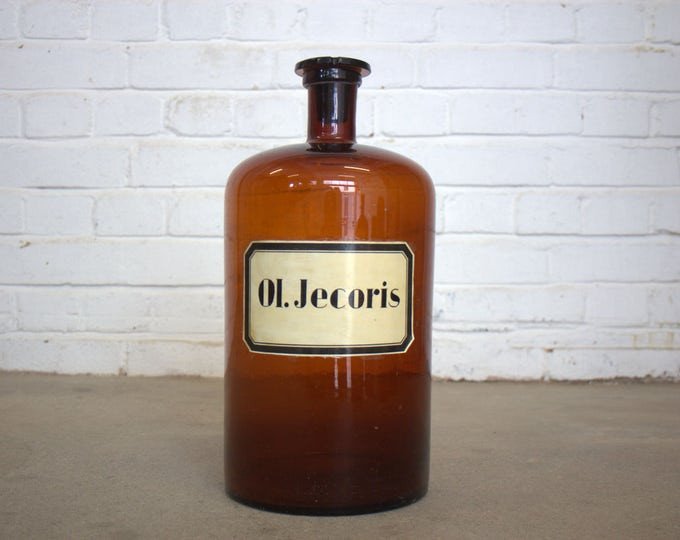 Large German Glass Apothecary Bottle Circa 1950's