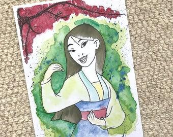 Disney's Mulan Watercolour Painting Print in A5 & A4.