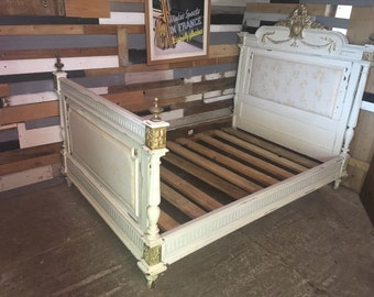 Shabby chic oak French Antique double bed bedroom furniture rococo style upholstered bed and head board