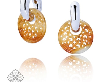 Hoop earrings white gold 750 with yellow brown jade carvings - hand made