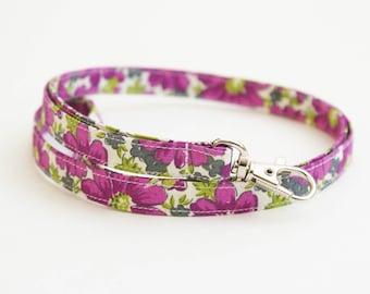 Fabric Lanyard - Vintage Inspired Floral - Purple, Green - Skinny Key Strap - ID Badge Holder - 15.5-19.5 Inch Drop - Cute Teacher Lanyard