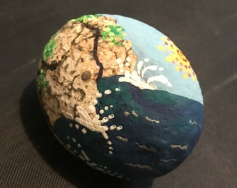 Rocky shore hand painted
