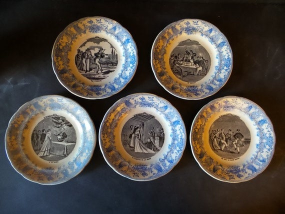 Like this item? & Antique French Wedding Plates from Gien .Set plates. Wedding