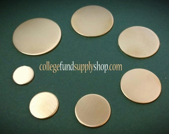 """1 1/8"""" NUGOLD 18 g. SETS OF 3 stamping discs,  1.125"""" round blank,   disc for etching, metal supply shop, jewelry supply, hand stamping"""