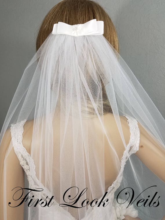 White Bow Veil, Bridal Elbow Veil, Wedding Bow Veil, Wedding Vail, Bridal Attire, Bridal Accessory, Wedding Accessories, Bride, Gift, Women
