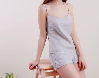 Pure Linen Cami in Silver-Grey Linen/ Linen Underwear/Linen Top/ Linen Camisole/ Lineen Night Top