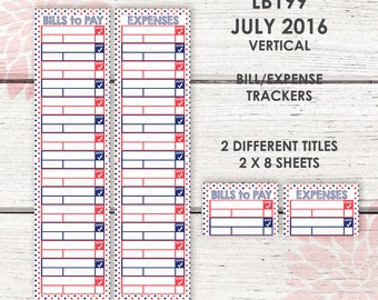 Monthly Bill / Expense Tracker Stickers | JULY 2016 Vertical Color Palette | LB199