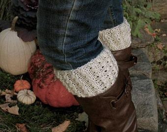Knit boot cuffs.