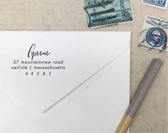 Return Address Stamp. Style 52. Self-Inking Stamp. Wooden Stamp. Wooden Mailing Stamp. Custom Address Stamp. Self-Inking Address Stamp.