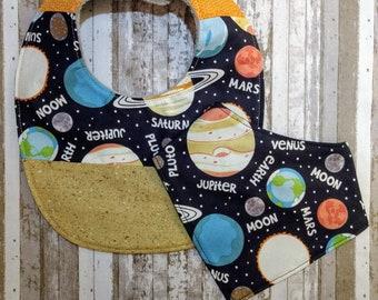 Solar System Planet Bib | Gender Neutral Bib | Large Baby Bib | Drool Bib