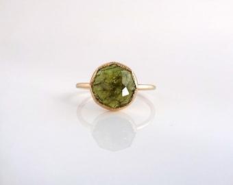 Green Garnet Stacker Ring, Handmade with Recycled 14k Yellow or Palladium White Gold, Gold Gemstone Ring, Garnet Ring