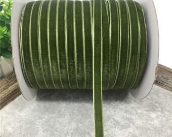 3/8 MOSS GREEN Velvet Ribbon