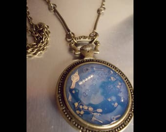 One of a kind Steampunk inspired clock necklace