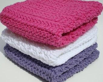 Three Cotton Washcloths, Dishcloths, Purple, White, Bright Pink Crochet, Crocheted Wash Cloths, Dish Cloths - Feminine, Women, Girl Kitchen