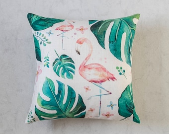 Flamingo Pillow Cover, Palm Leaf Pillow Cover, Tropical Leaf Pillow Cover, Green Throw Pillow, Decorative Pillow Cover, Cushion Cover
