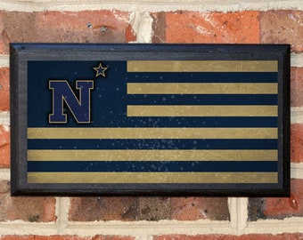 US Navy Flag Midshipmen N Star Logo Wall Art Sign Plaque Gift Present Home Decor Vintage Style USNA Sailor Naval Academy Football Classic