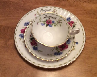Royal Albert Flower of the Month Series Trio Cup Saucer Desert Plate August