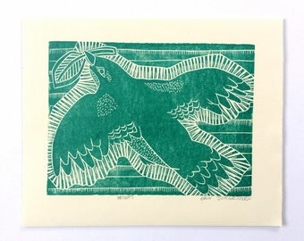 linocut - HEIGHTS // 8x10 art print // printmaking // block print // emerald green // nature // original art // bird print // animal print