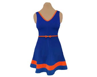 Blue + Orange Skater Dress
