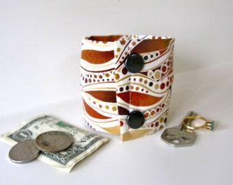 "Secret Stash Money Cuff ""Woodland Leaves""- hide your cash, jewels, key, health info  in a hidden zipper..."