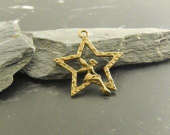 2 antique bronze fairy charms pendants