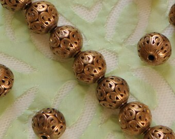 Round Filigree Beads Metal Lace Brass 1 Piece 11 mm Diameter Made in USA Antique Victorian Style
