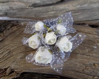 White Rose Wedding Hair Pins, White Bridal Hair Pins, Flower Girl Hair Accessories, Beach Wedding, Bridesmaid Hair, Woodland - Set of 6