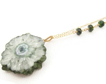 Green Solar Quartz Necklace Green Quartz Jewelry Gold Filled Simple Style Quartz Pendant Wire Wrapped Hand Coiled Fall Trends Gift Idea