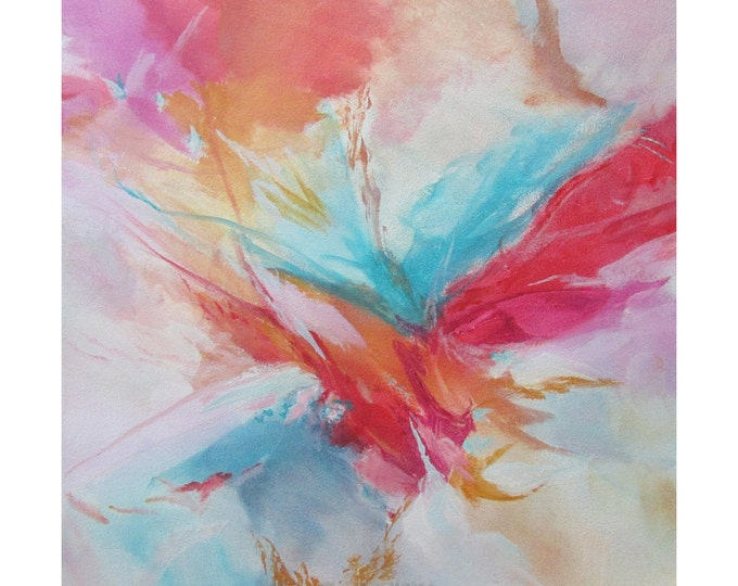 Abstract Expression Art Original Contemporary Painting red blue yellow Musing 152