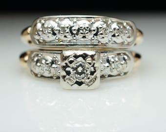 Vintage Art Deco Assembled Diamond Engagement Ring & Wedding Band Bridal Set Illusion Set Diamond