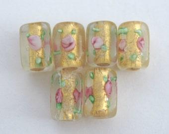 6 Gold foil pink floral rectangular glass beads