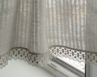 Curtains Lace Curtains Cafe Curtains Washed Linen Curtains Kitchen Curtains Shabby Chic Curtains Panels