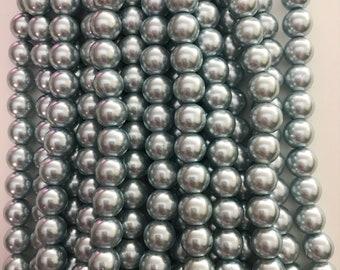 Light blue 10mm glass beads