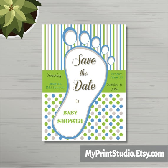 Save The Date, Baby Boy Shower Card Template, Save The Date Card. Save The  Date Card Template, Printed Or DIY Instant Download
