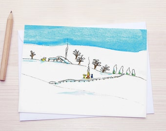 Winter Landscape | Christmas Card | Snow and a tiny fire :)