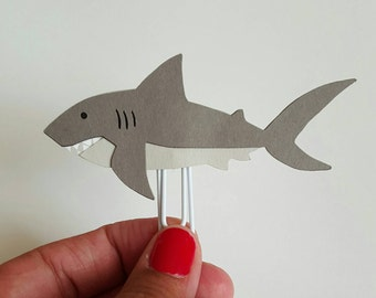Shark Planner Paperclip| Marine Animal Bookmark| Planner Accessories| Shark Fan| Shark Week| Shark Bookmark